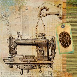 illustrazione vintage macchina da cucire
